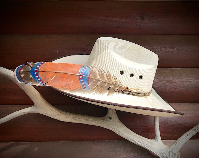 Custom hat feathers, tribal style hand painted hat feather, beautiful turkey wing feather, tera cotta, metallic blue