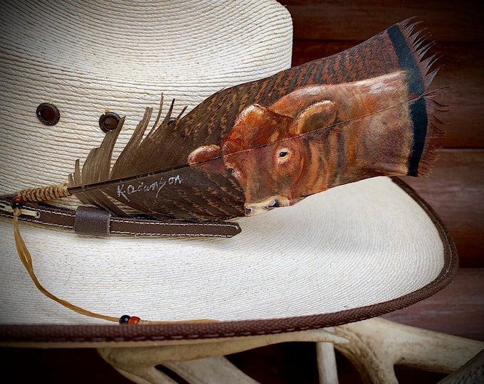 Custom portrait HAT FEATHER or framed display, hand painted Red Angus steer, cattle portraits on a wild turkey pre-tail bronze feather, art