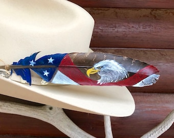 American eagle hat feather, medium wild turkey secondary wing feather, American eagle, red, white, blue, stars and stripes forever, cowboy