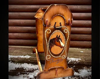 Custom saddle stand, saddle rack, solid wood, handmade and painted, personalized with your horse