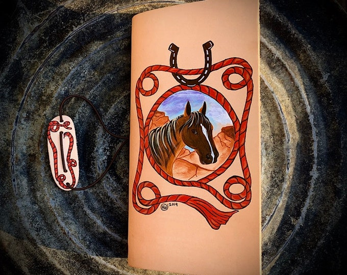 Leather journal, organizer book hand painted western leather journal, western Christmas gift, stocking stuffer, cowboy, cowgirl note pad