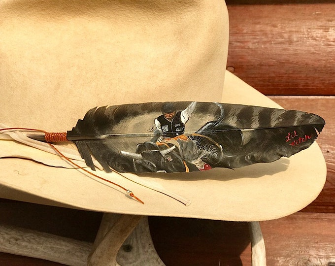 Cowboy Special, hat feathers, custom bull riding portraits, black painted wild turkey wing, custom portrait of your bull ride, western retro