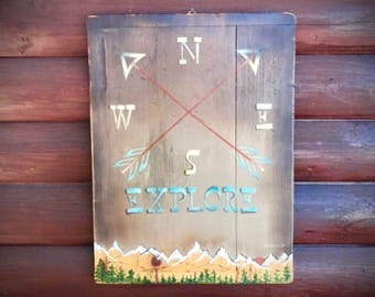Rustic, Explore, compass arrow wall art, hand painted mountain art on antique repurposed wood dough board cutting board, rustic cabin decor