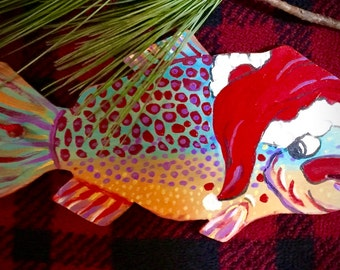 4 pc. Set, Christmas ornament, funky fish,fishermans ornament,rustic, lake decor