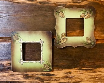 Rustic, pair small custom wood picture frames, hand painted weathered lime green, brown, pine cones, aspen accent,cabin decor, rustic decor