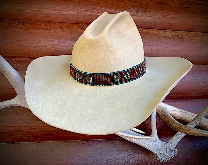 Beaded hat band, boho, gypsy head band, elastic stretch style beaded band for cowboy or cowgirl hat, or wear as headband, turquoise, rust
