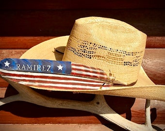 American made hat feather, personalized feathers, American flag, name or brand, wild turkey wing feather hand painted, cowboy hat feather