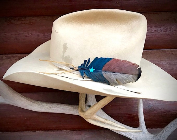 Americana cowboy hat feathers in new mini covert feather, wild turkey hat feathers, rustic retro patriotic flag , blue, rust, turquoise ,tan