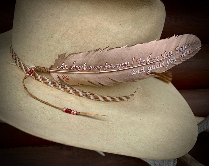 An Angel wing for you! to keep you safe and guide you thru, hat feather, inspirational gift, motivational gift, keepsake, condolence feather