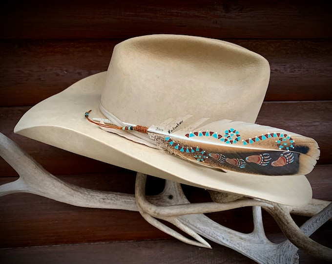 "New custom hat feather, ""Bearly Walkin"" rare turkey feather, bear paw and tribal pattern, one of a kind one at a time, bronze, turquoise art"