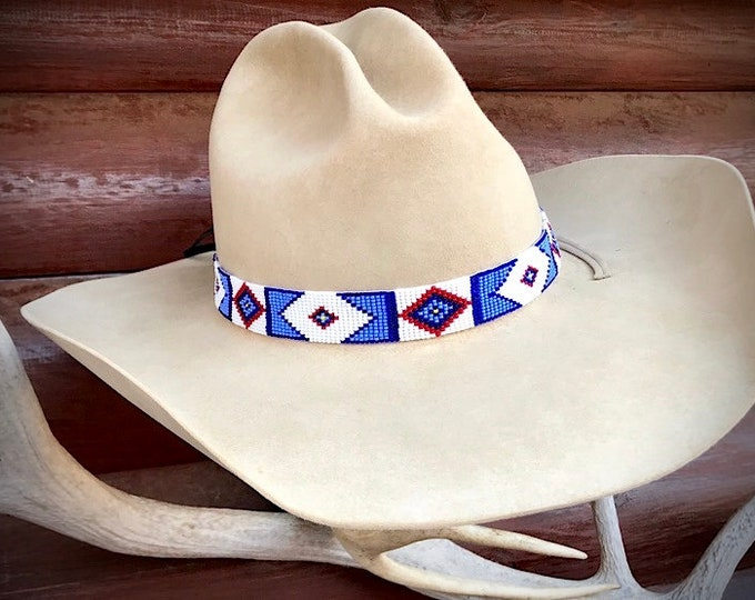 Billy Jack hat band, handmade beadwork hat band, retro cowboy western wear, replica Billy Jack original style hat band, hat accessories,art