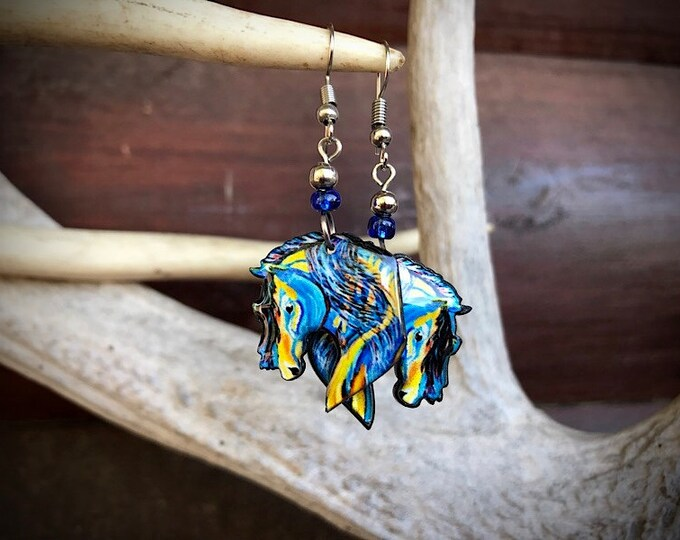 Western earrings, equestrian horse earrings, boho, mosaic artistic acrylic horse head in flowing colors of turquoise, blue, gold and black,