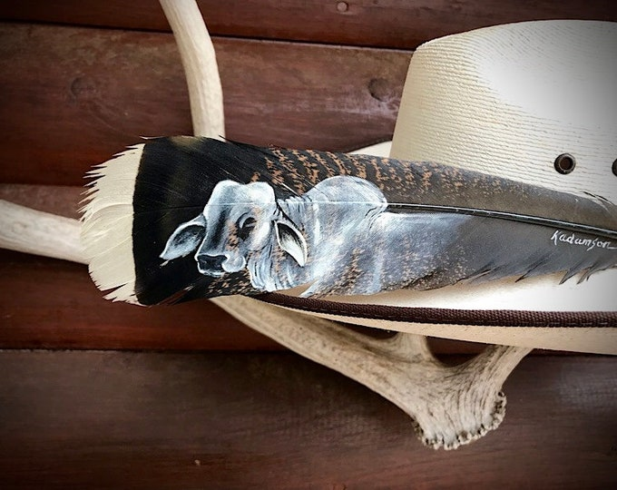 Custom hat feather, brahman cattle, show cattle, bucking bulls, hat feather hand painted portrait of brahman bull on Merriam turkey feather