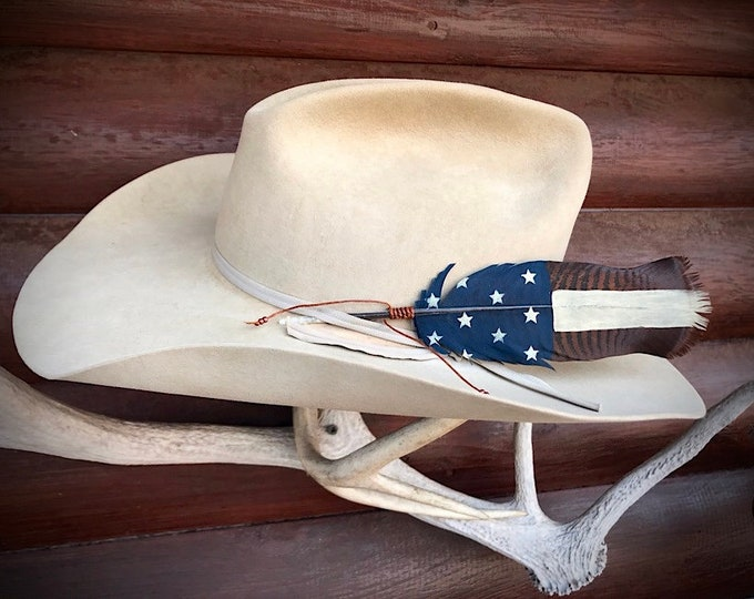 Custom cowboy hat feather, hand painted on a beautiful rusty bronze pre tail wild turkey feather, American flag feather, hat accessories art