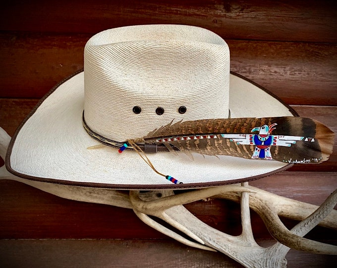 Thunderbird hat feather, custom hat feather in red, white, blue, turquoise with beaded sinew wind tie, western retro, american hat feather