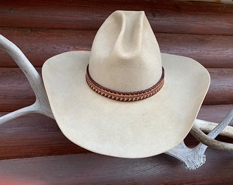 Leather hat band, natural leather laced edge two tone brown leather western retro fashion custom hat accessory, adjustable one size fits all