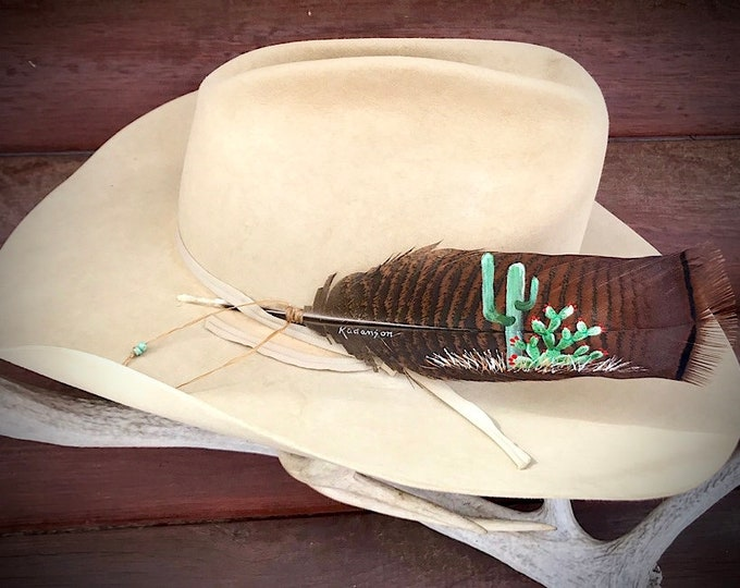 Custom hat feather,beautiful rusty bronze small pre-tail wild turkey feather hand painted with cactus, and sinew turquoise beaded wind tie