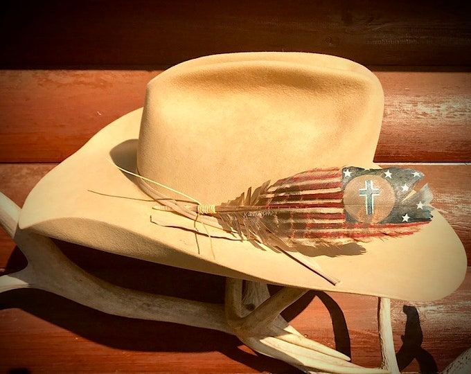 Custom hat feather, hand painted small turkey wing feather, weathered American flag with a cross, patriotic christian cowboys and cowgirls