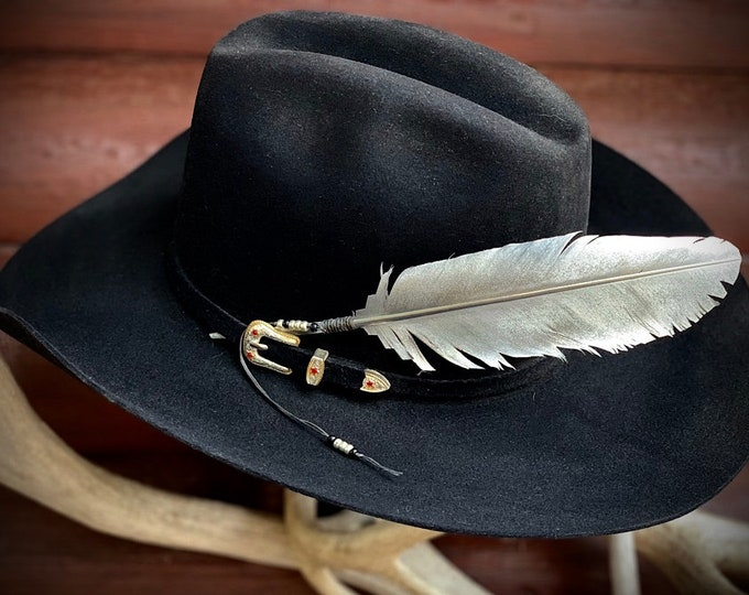 Silver Edition custom hat feather, with silver,  black beaded black wind tie, hand painted platinum, metallic, silver feather, western retro