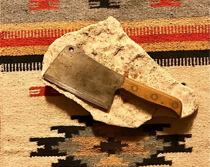 Vintage 1950 Clyde cutlery meat cleaver, Antique kitchenware, vintage butcher meat cleaver, maker marked, dated antique, good condition