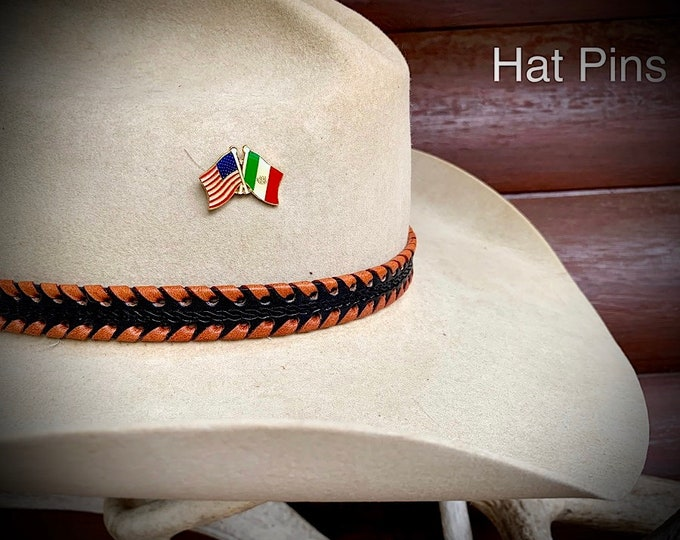 Hat pin, Mexico flag, American flag western retro hat pin, together we stand, custom hat accessories, cowboy hat, cowgirl hat, western hat