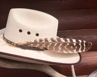Hat feather with beaded hand tied sinew wind tie, turquoise and copper beads braided in, natural wild turkey wing feather, cowboy, cowgirl