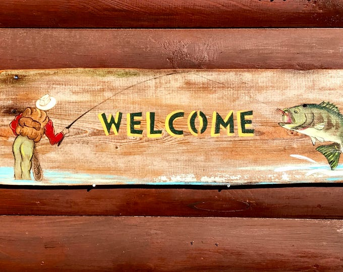 Rustic, personalized fly fishing, cabin sign, fishermans sign, cabin or lake home Welcome sign