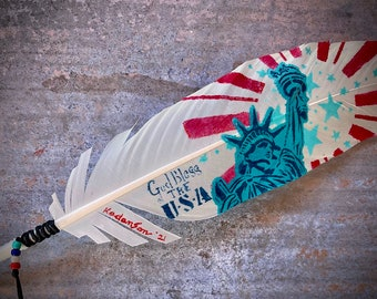 FREEDOM Feather, God bless the USA hat feather, American made, handmade in USA, cowboys,cowgirls,custom hats,American pride, Liberty,freedom