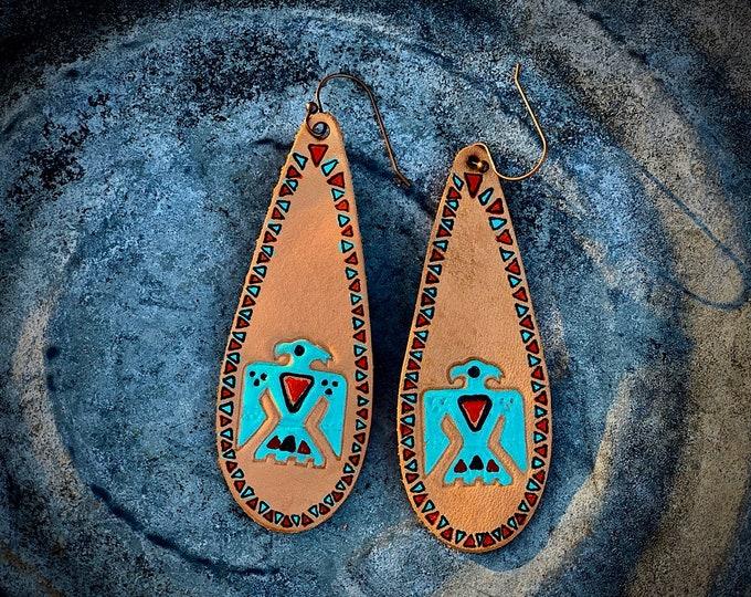 Thunderbird leather earrings, handmade tooled leather and hand painted southwest thunderbird design , tribal accents, western retro fashion
