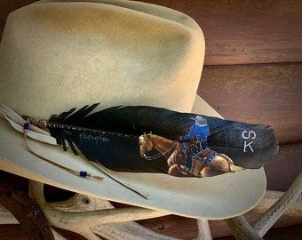 Reining horse custom hat feather portrait,NRHA, hand painted portrait, handmade in USA, American sourced feathers, cowgirl or cowboy hat art
