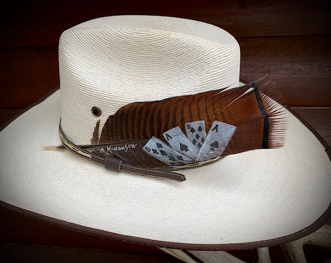 Deads Man Hand, Aces n 8s, cowboy hat feather, hand painted turkey pre-tail bronze feather, western retro fashion, cowboy or cowgirl hat
