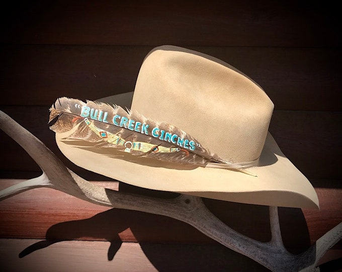 Custom cowboy hat feathers, personalized for business advertising, custom names and lettering available, custom association award feathers