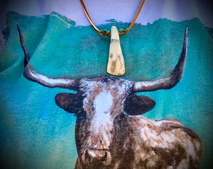 Hickerbilly jewelry, rustic buffalo tooth, sinew wrapped leather necklace, turquoise style stone beads, rustic, primitive, boho, southwest