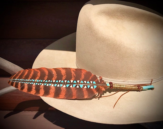 New style custom hat feather, feather art, rusty bronze painted wild turkey wing with native bohemian design,new beaded  style wrapped quill