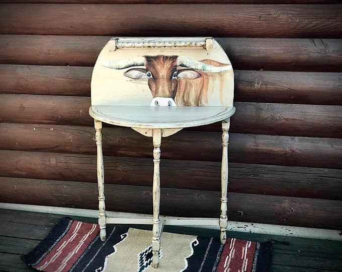Rustic western decor table, vintage repurposed nite stand, end table, entry way table, hand painted longhorn and barbwire, farmhouse decor