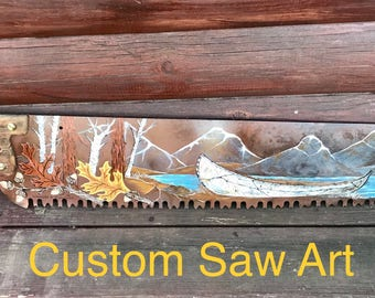 Saw art, birch bark canoe mountain lake scenery, big jumping trout, waterfall, aspens, oak leaves and acorns, rustic home decor, lodge decor