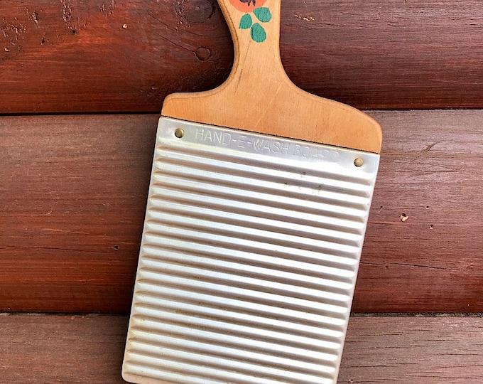 Antique Hand E Wash Board, 1930 circa, Hand E board lingerie wash board, vintage hand held washboard, farmhouse decor, rustic cabin decor