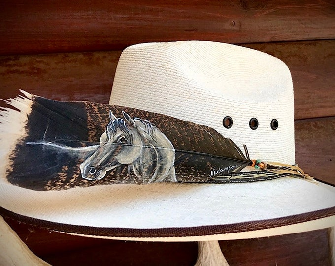 Custom hat feather, Special edition, horse head with ornate copper wire wrap, turquoise, copper beads accent sinew wind tie, cowboy, cowgirl