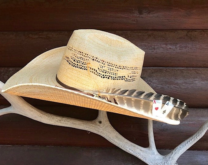 "Hat feathers, a pair of Aces, cowboy hat feather hand painted on a medium approx. 10"" size wild turkey wing feather, with sinew wind tie"