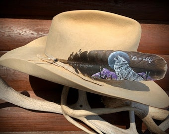 Howling wolf custom hat feather, mountains and cactus, wolf howling at moon, Be a Wolf, custom feather painting, western retro fashion art