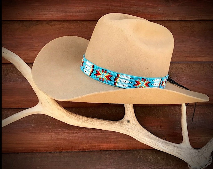 Beaded hat band, turquoise, native style, western hat accessory western hat band, cowboy hat band, unique handmade beaded hat bands, retro