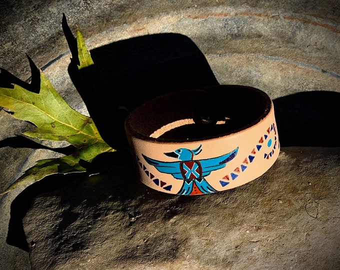 Doodle Cuff, Leather cuff bracelet hand painted thunderbird and tribal patterns, southwest, boho hippie fashion, leather jewelry, western
