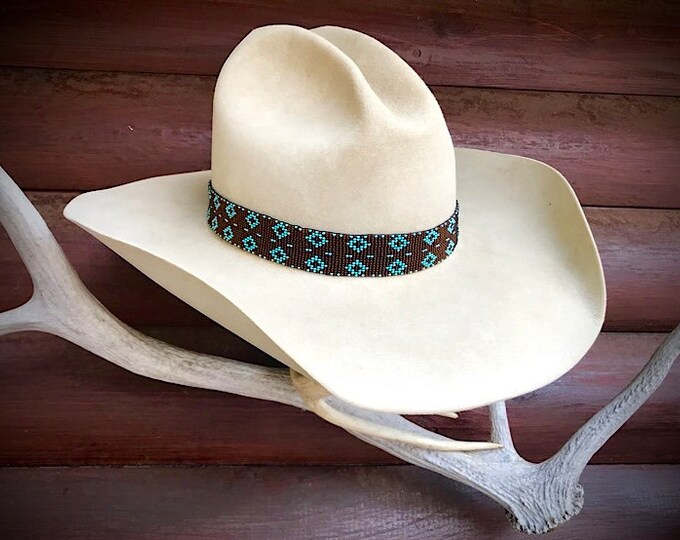Beaded cowboy hat band, brown and turquoise handmade hat accessories, western hat band, unique, vintage retro cowboy hat band, cowgirl hats