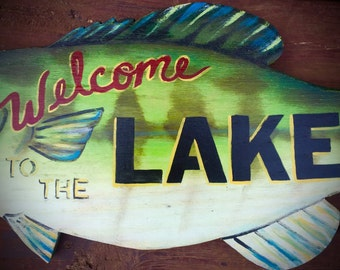 "Bass fish sign, custom sign, wood, hand painted, ""Welcome to the Lake"" sign, cabin furnishings, rustic decor, cabin sign, lake sign"
