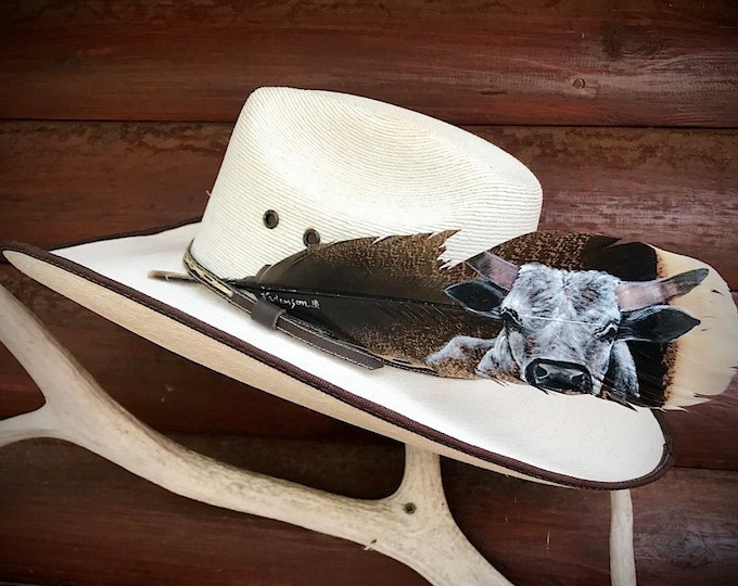 Custom hat feathers, bucking bull series, Number 1 Holbrook bull, hand painted portrait, large turkey tail feather, feather art, cowboys