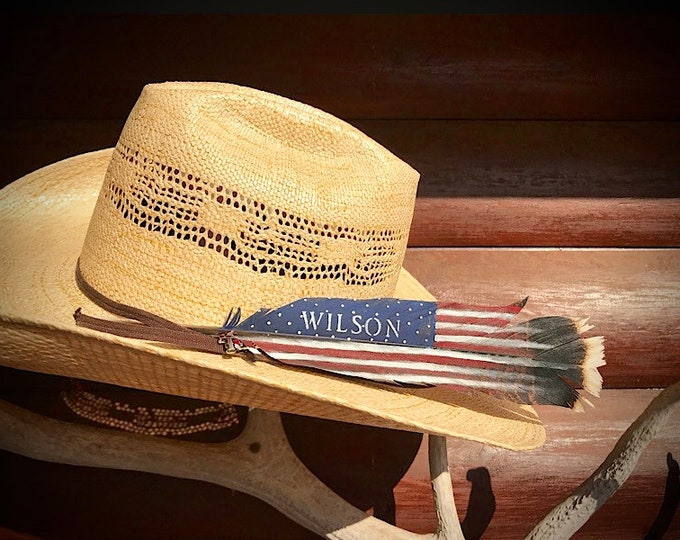 American made hat feathers, American flag feather painted on a wild turkey tail feather, personalized patriotic feather, cowboy hat feathers