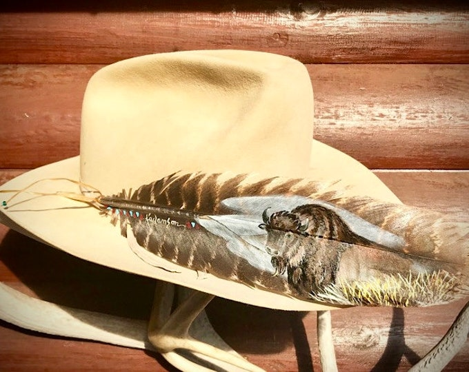 Custom hat feather, hand painted bison, partial view, native style, buffalo, wild turkey wing feather, western art, feather art, cowboy hat,