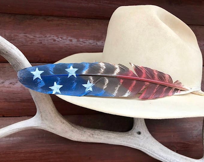 American cowboy hat feather, custom hand painted natural turkey wing feather in red white and blue flag with stars