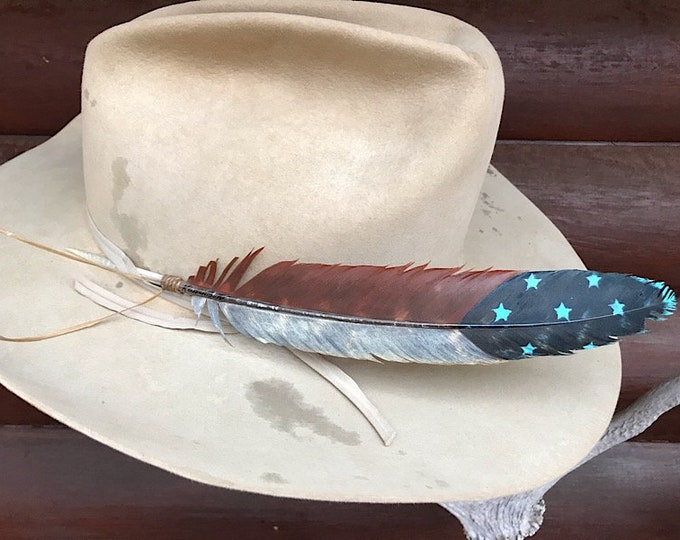 New Americana Cowboy hat feather, rustic, retro cowboy western wear, hat accessories,hand painted turkey wing feather, blue, rust, turquoise