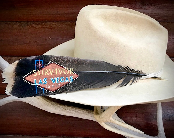 Vegas Strong, custom hat feather, hand painted Survivor Las Vegas 10-1-17, iconic vegas sign personalized with custom message  for survivor